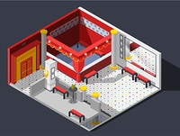 Theatre Hall Composition . Theatre hall isometric composition with lights benches and mirror vector illustration