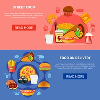Fast Food 2 Flat Banners Webpage . Street food on delivery online order 2 flat banners with deserts coffee pizza burgers isolated vector illustration