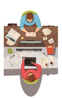 Business Meeting Top View Design Concept . Business meeting top view design concept with two businessmen sitting in their jobs and discussing problems flat cartoon  vector illustration