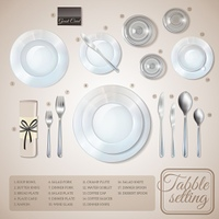Table Setting Infographics. Table setting top view infographics with information about dishware and cutlery on beige background vector illustration