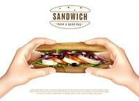 Healthy Sandwich In Hands Realistic Image. Healthy multi grain sandwich with mozzarella lettuce tomato onion in hands realistic advertisement white background poster vector illustration
