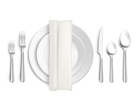Table Appointments Top View. Table appointments top view 3d design with cutlery napkin and plates on white background isolated vector illustration