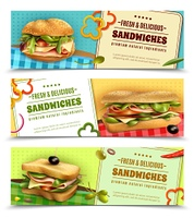 Healthy Fresh Sandwiches Advertisement Banners Set. Healthy whole grain sandwiches with natural fresh ingredients 3 horizontal advertisement banners set realistic isolated vector illustration