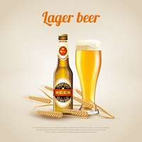 Lager Beer Background. Realistic background with bottle and cup of cold lager wheat beer vector illustration