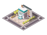 Cinema Isometric Illsutration. Cinema building isometric composition with road bench and trees vector illustration