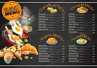 Breakfast Menu On Chalkboard. Breakfast menu on black chalkboard including omelettes sandwiches with vegetables pancakes waffles with chocolate, fruits vector illustration