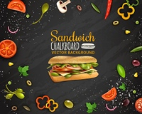 Fresh Sandwich Chalkboard Background Advertisement Poster. Sandwiches with ham cheese fresh paprika tomato onion champignons and olives realistic chalkboard background advertisement poster vector illustration