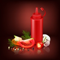 Realistic Background With Red Plastic Bottle And Vegetables . Colorful realistic background with red plastic bottle with ketchup and chopped vegetables vector illustration
