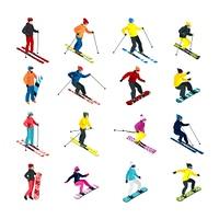 Skiing isometric set. Isometric people doing skiing and snowboarding isometric set isolated vector illustration