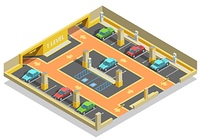 Parking Underground Isometric Template. Parking underground isometric template with road cars lots and arrows direction vector illustration
