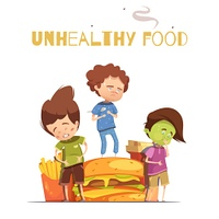 Junk Food Harmful Effects Cartoon Poster. Unhealthy junk food harmful effects warning retro cartoon poster with hamburger and sick looking children vector illustration