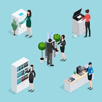 Office Life Scenes Isometric Set. Office life scenes isometric set with employees near water cooler cabinets copier at kitchen isolated vector illustration