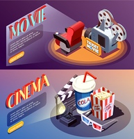 3D Cinema Banners Collection. Set of two horizontal isometric cinema banners with compositions of cumbersome objects with read more button vector illustration