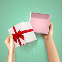 Small Gift Package Composition. Hands holding gift box top view realistic background with square carton and red fillet with bow vector illustration