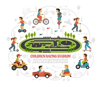 Children Racing Stadium Composition. Transport children background with sports area scenery flat images of kids and toys silhouettes with text vector illustration