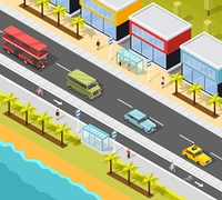 Resort City Transport Background. Transport conceptual composition of resort town beach scenery and road with bus stops and different vehicles vector illustration