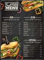 Fast Food Sandwiches Menu Advertisement Poster. Fast food cafe healthy options wholegrain wheat multigrain sandwiches blackboard menu realistic advertisement poster print vector illustration