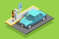 Parking Isometric Template. Parking isometric template with car roadsign and woman paying for place isolated vector illustration