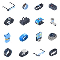 Wearable Technology Isometric Icons Set. Set of isometric icons with wearable technology including watches, augmented reality glasses, smart clothing isolated vector illustration