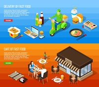 Fast Food Delivery Isometric Horizontal Banners. Fast food delivery and fast food cafe isometric horizontal banners with eating icons courier on moped and clients at table vector illustration