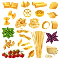 Pasta Realistic Set. Realistic set of pasta including penne, fusilli, tagliatelle, farfalle, spaghetti, cheese, tomato and basil isolated vector illustration