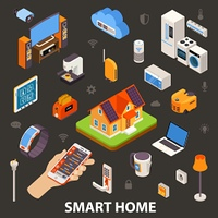 Smart Home Electronic Devices Isometric Poster. Smart home best automatic electronic devices choice with remote control in owners hand  isometric poster vector illustration