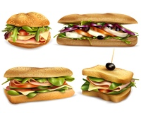Healthy Fresh Ingredient Sandwiches Realistic Set  . Fresh healthy whole grain sandwiches set with cheese ham mozzarella tomatoes onion and olives realistic vector illustration