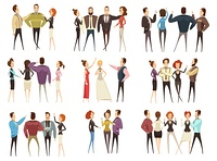 Business Teams Cartoon Style Set. Set of business teams front and back views with men and women cartoon style isolated vector illustration