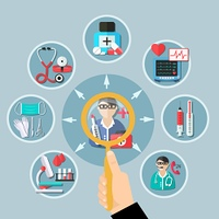 Medicine Flat Design. Flat design with medicine icons around doctor and magnifier in client hand on grey background vector illustration