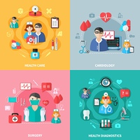 Medicine Flat Design Concept. Medicine flat design concept with health care diagnostics surgery and cardiology doctors and tools isolated vector illustration