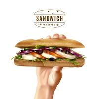 Healthy Sandwich In Hand Realistic Image. Hand holding healthy multi grain sandwich with mozzarella lettuce tomato onion realistic advertisement white background poster vector illustration