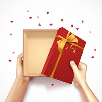 Confetti Gift Box Composition. Hands holding gift box top view realistic 3D background with red rectangular box golden bow and confetti vector illustration