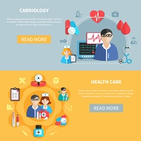 Healthcare Horizontal Banners. Horizontal flat banners with healthcare and cardiology round compositions on grey and yellow backgrounds isolated vector illustration