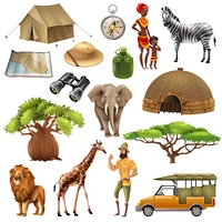 Safari Set Icon Set. Colored and isolated safari set icon set with elements and attributes on theme vector illustration