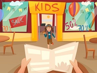 Kid Running Off Composition. Retro cartoon kid running off composition with first person view in front of shop window vector illustration