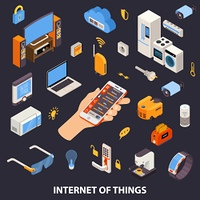 Internet Of Things Control Isometric Poster. Internet of things home automation system with remote control device in owners hand isometric poster vector illustration