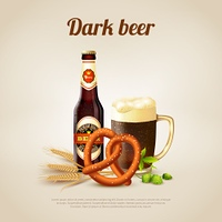Dark Beer Background. Realistic background with bottle and mug full of dark beer vector illustration