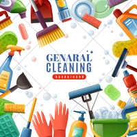 General Cleaning Frame. General cleaning frame with dishware brushes wipes mops soaps chemical detergents on white textured background vector illustration