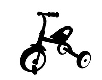 Children Bicycle with Three Wheels. Isolated on White Background.. Children Bicycle with Three Wheels. Isolated