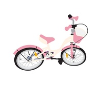 Pink Children Bicycle. Isolated on White Background.. Children Bicycle. Isolated