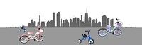 Riding a Bike in the City. Vector Illustration.. Riding a Bike in the City. Vector Illustration. EPS10