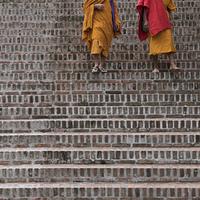 Monks walking down staircase, Luang Prabang, Laos