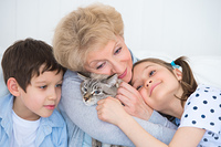 Portrait of smiling grandmother and grandchildren hugging on sofa with granny's cat