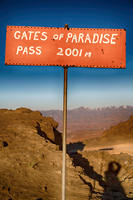in lesotho road sign gate of paradise pass mountain destination