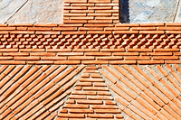 red tile in morocco africa texture abstract wall brick