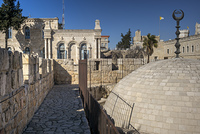 View of the wall promenade surrounding the Old City at Damascus Gate, Jerusalem, Israel
