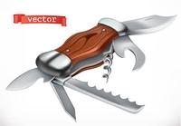 Multifunctional pocketknife. 3d vector icon