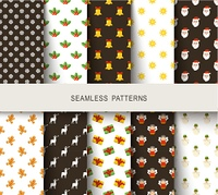 Seamless New Year's patterns brown and white. Vector illustration