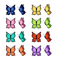 Butterflies of different colors on a white background. Vector illustration