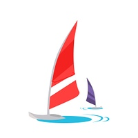 Windsurfing Concept Vector in Flat Design.. Windsurfing conceptual vector. Flat style design. Active vacation on tropical sunny seaside. Water sport and entertainment. Swimming and windsurfing on the coast Isolated on white background.